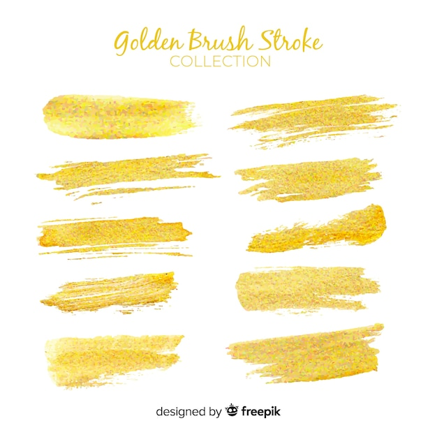 Golden brush stroke collection Free Vector