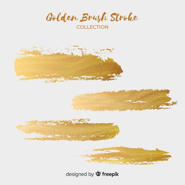 Golden brush stroke set Free Vector