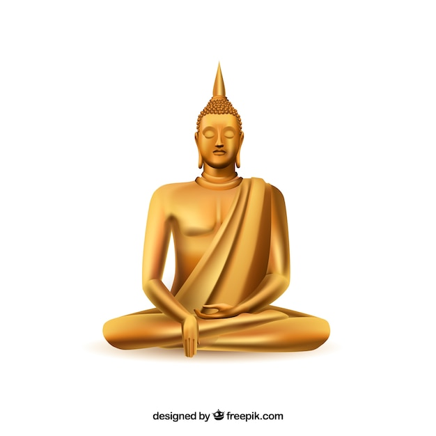 Golden budha with realistic style Free Vector