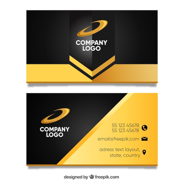 golden business card template vector free download