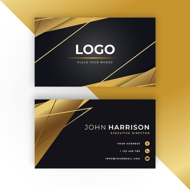 Golden business card template Premium Vector
