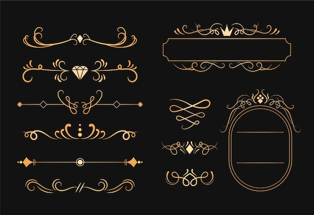 Набор золотой каллиграфический орнамент Бесплатные векторы