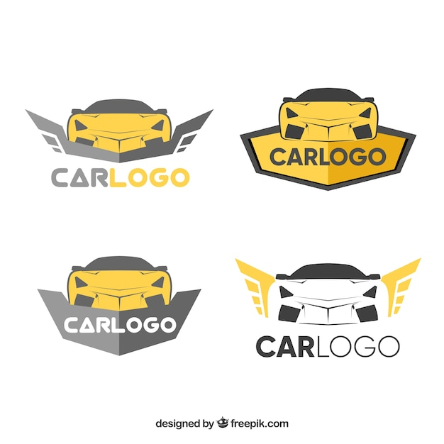 Golden car logo pack Free Vector