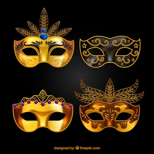 Golden carnival mask collection Free Vector