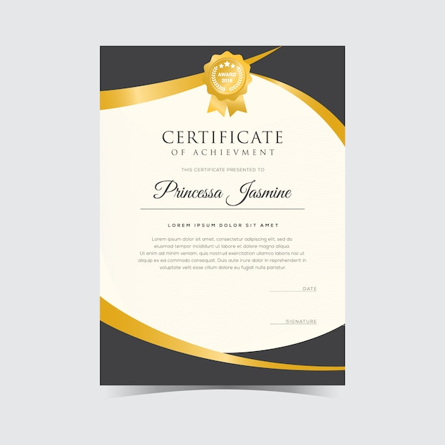 Attractive Golden Certificate Template Free Vector Inside Free Certificate Template