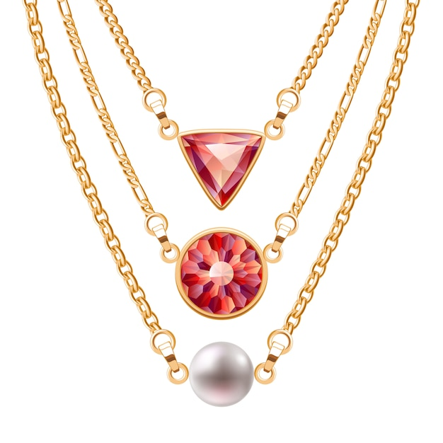 Golden chain necklaces set  with round and triangle ruby pendants and pearl. jewelry  . Premium Vector