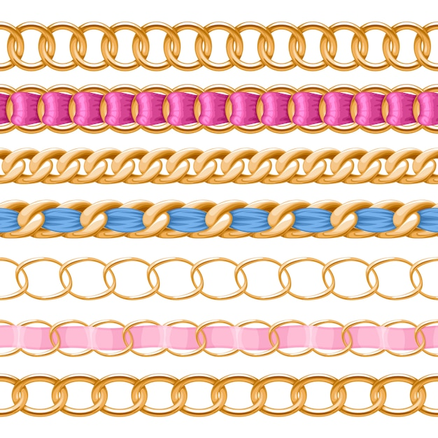 Golden chains set with colorful threaded fabric ribbon  brush. good for necklace, bracelet, jewelry accessory . Premium Vector