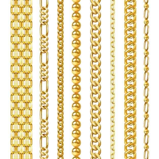 Golden chains set Free Vector