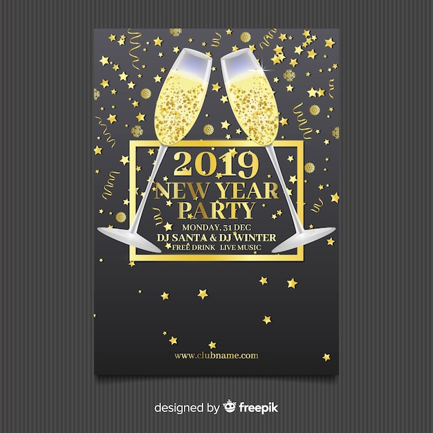 Golden champagne new year party poster template Free Vector