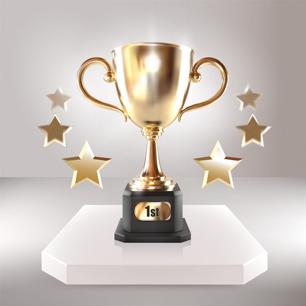 Golden champion cup with stars. vector realistic 3d illustration. championship trophy. sport tournament award. victory concept Premium Vector