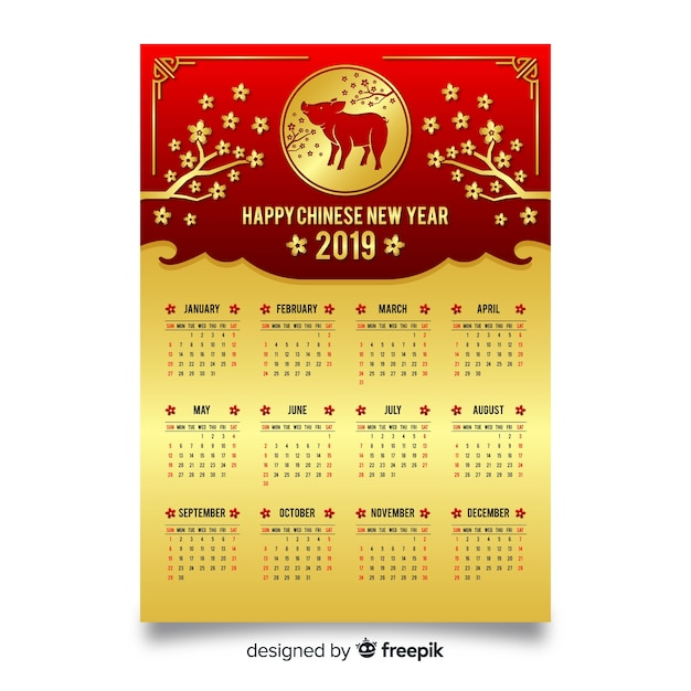 Golden chinese new year calendar Free Vector