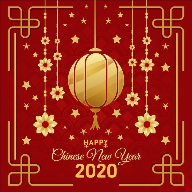 Golden chinese new year concept Free Vector