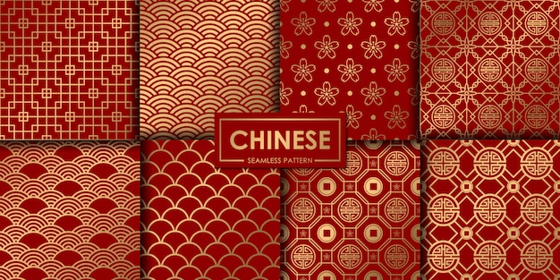 Golden chinese seamless pattern collection. Premium Vector