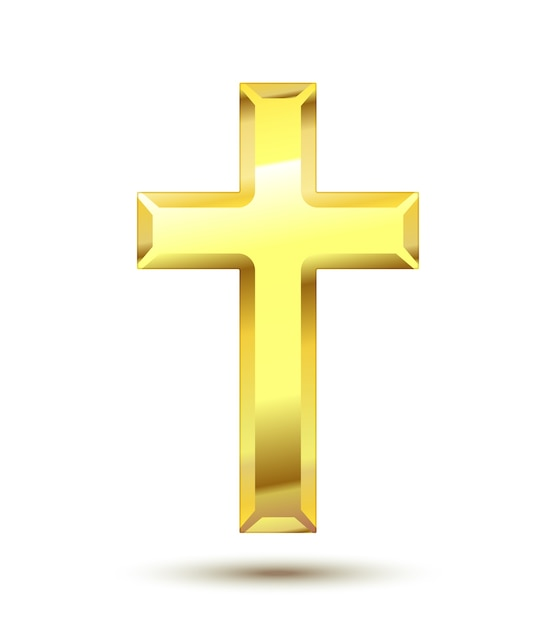 Golden christian cross isolato Vettore gratuito