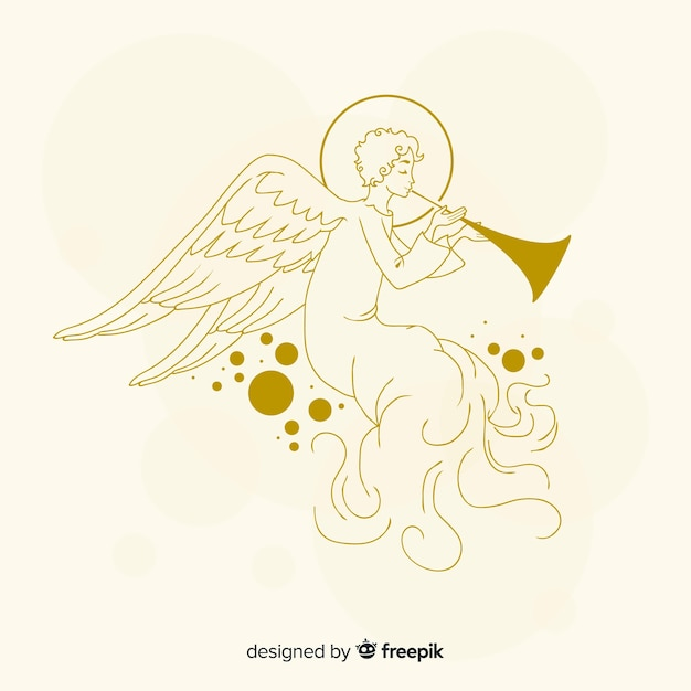 Golden christmas angel hand drawn style Free Vector