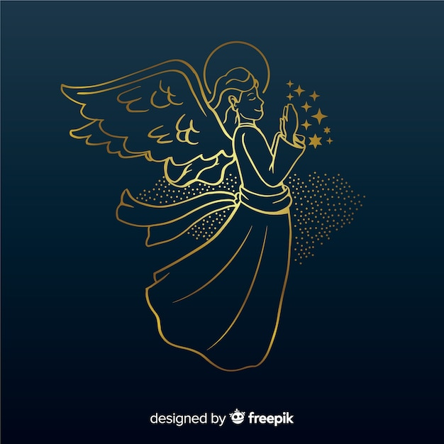 Golden christmas angel side view with blue background Free Vector