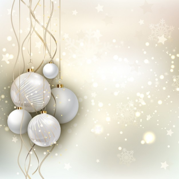 Golden christmas background with baubles Free Vector