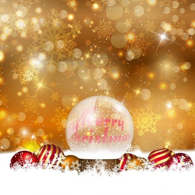 Golden christmas background with crystal bauble Free Vector