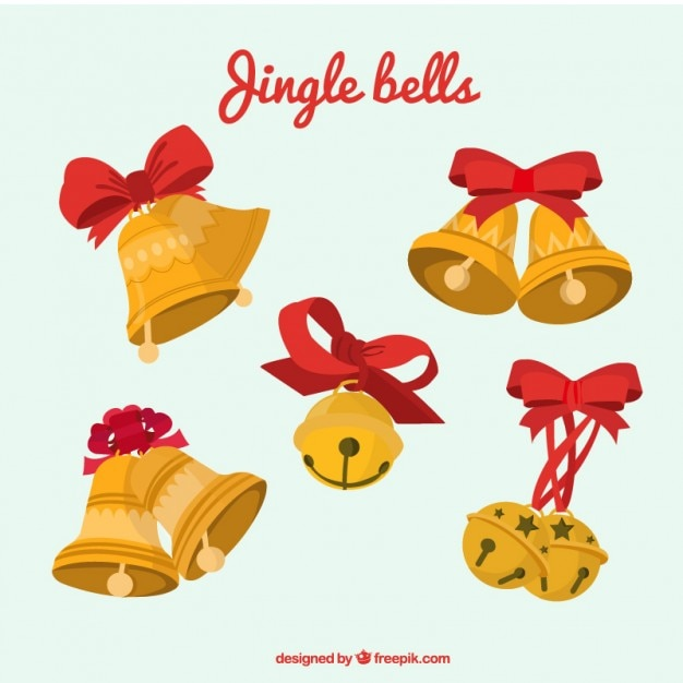 Golden christmas bells pacco Vettore gratuito