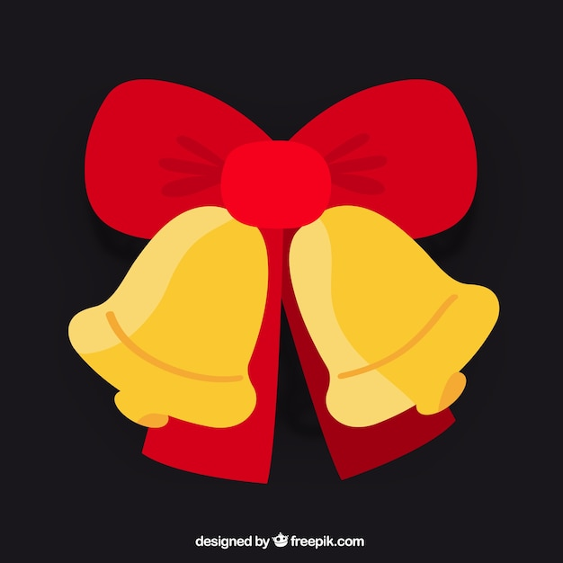 Golden Christmas bells with red bow\ vector