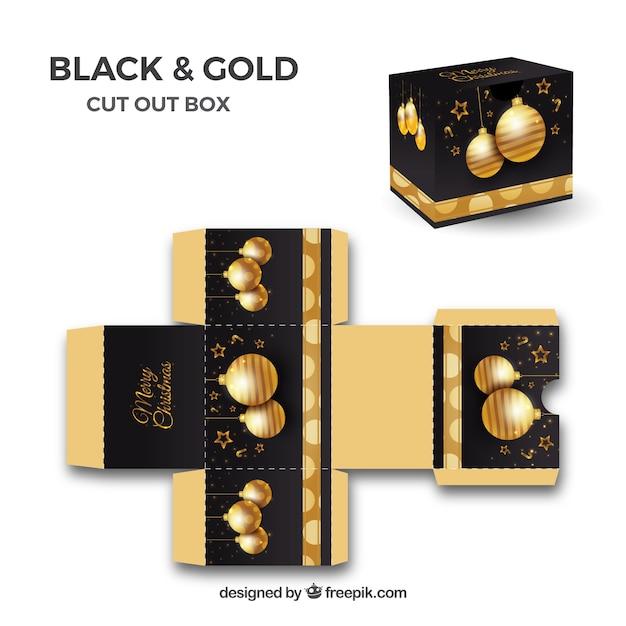 Golden christmas box Free Vector