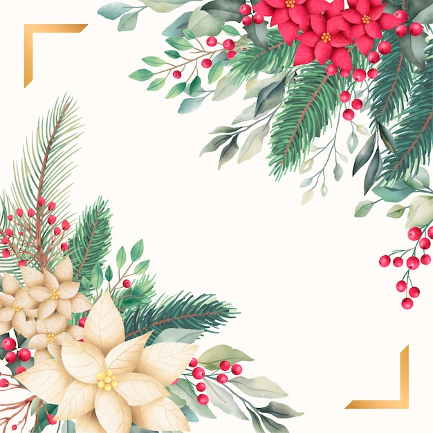 Golden christmas card template with watercolor nature Free Vector