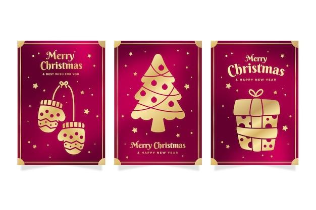황금 크리스마스 카드 컬렉션 무료 벡터