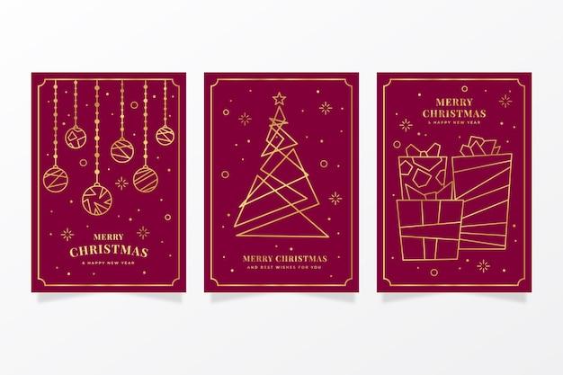 Collezione di cartoline di natale d'oro Vettore gratuito