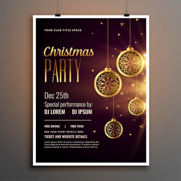 Golden christmas celebration party flyer template Free Vector