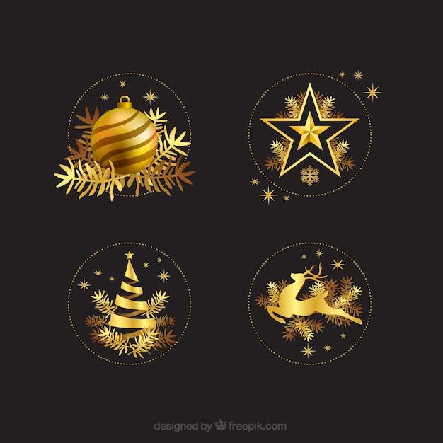 Golden Christmas Decoration Free Vector