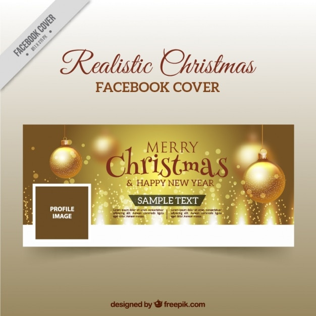 Golden christmas facebook cover Vector