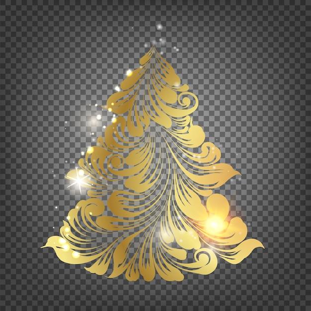 Albero di abete di natale dorato su sfondo trasparente. Vettore gratuito