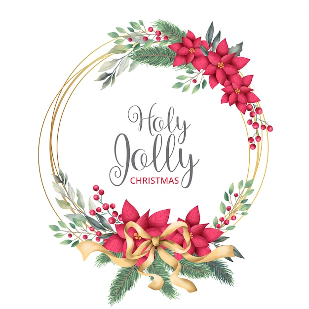 Golden christmas frame with watercolor leaves Free Vector