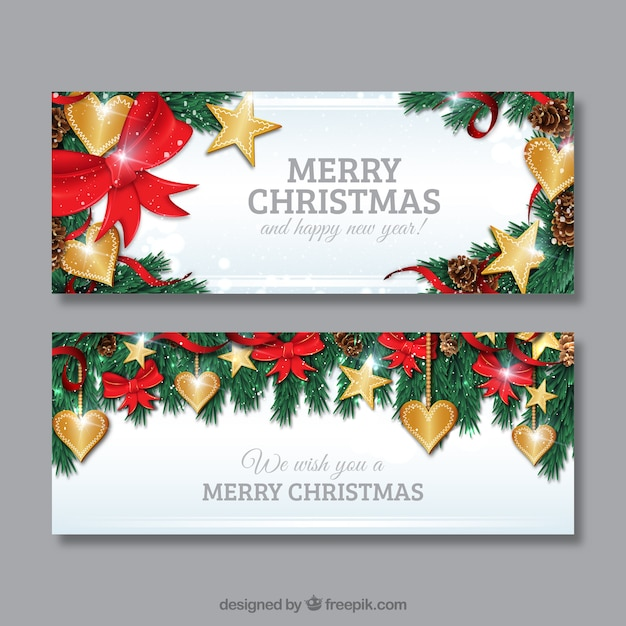 Golden christmas hearts banners vector free download