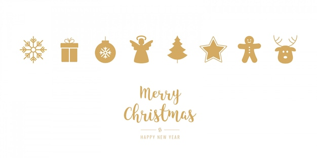 Golden christmas ornament icons elements isolated background Premium Vector