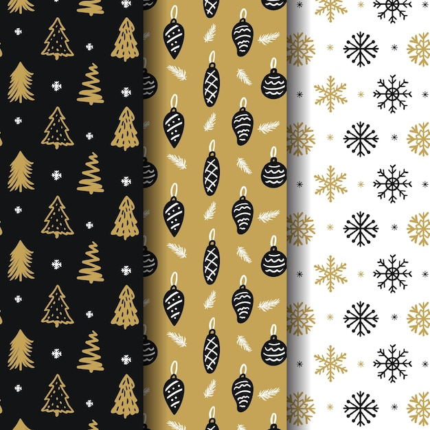 Golden christmas pattern collection Premium Vector