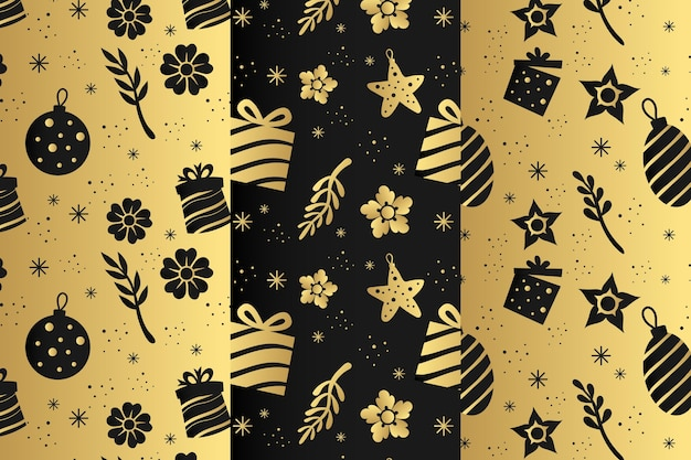 Golden christmas pattern collection Free Vector