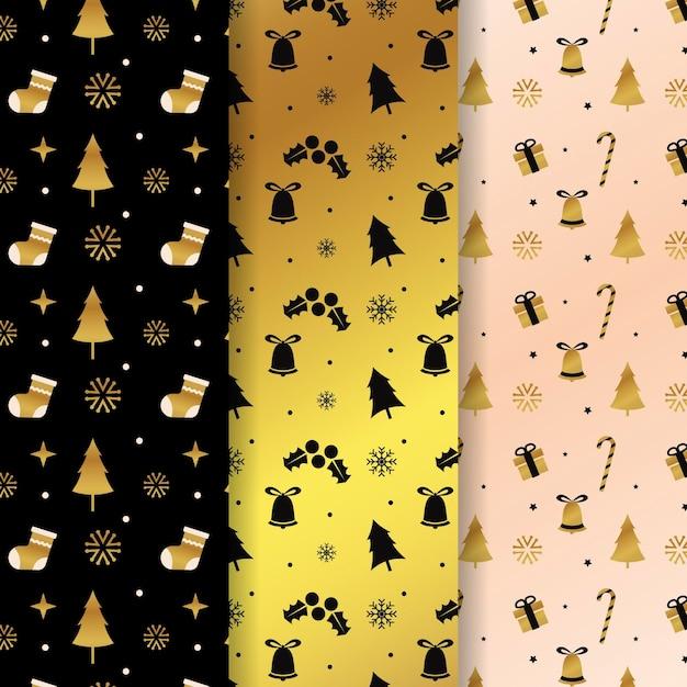 Golden christmas pattern Free Vector