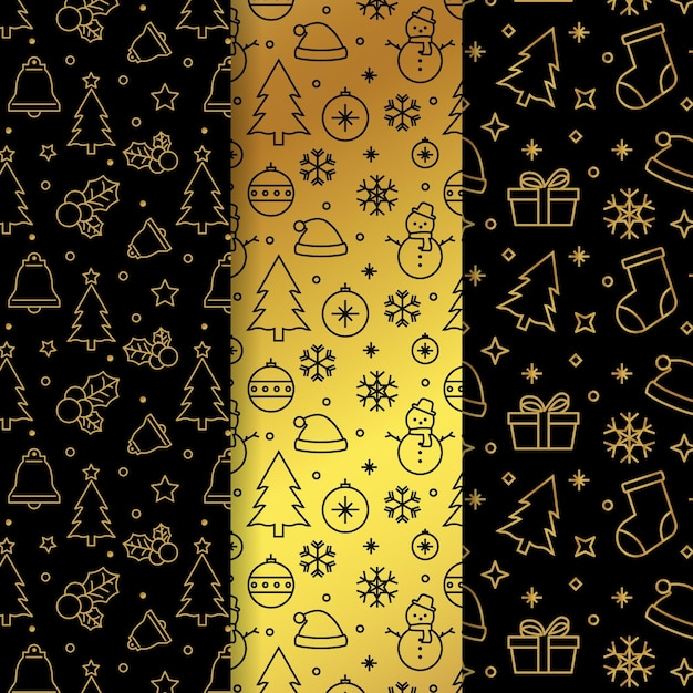 Golden christmas pattern Free Vector