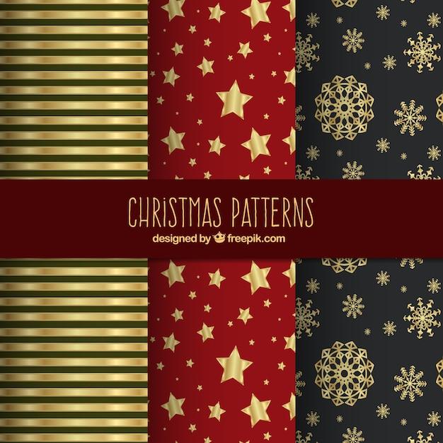 Golden christmas patterns Premium Vector