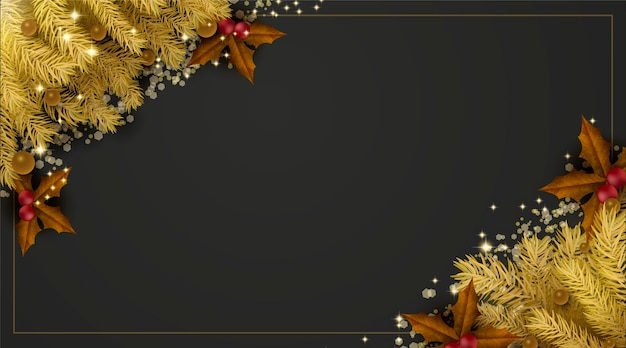 Golden christmas pine leaves background with copy space Free Vector