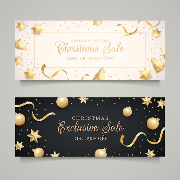 Golden christmas sale banners template Free Vector