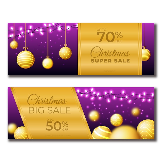 Golden christmas sale banners Free Vector