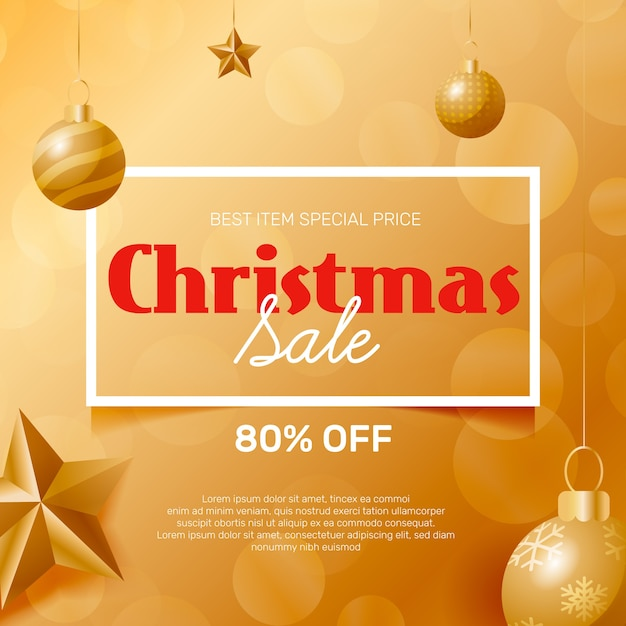 Golden christmas sale concept Free Vector