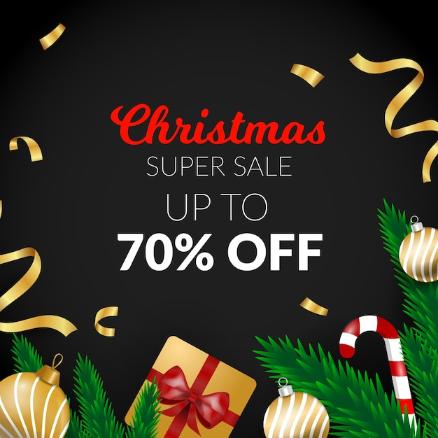 Golden christmas sale with ribbon and gift Free Vector
