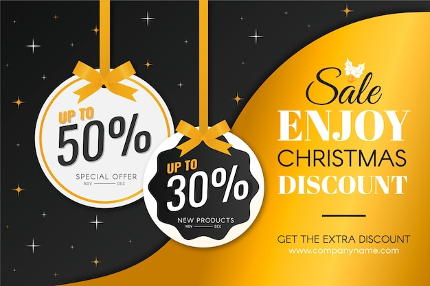 Golden christmas sale Free Vector