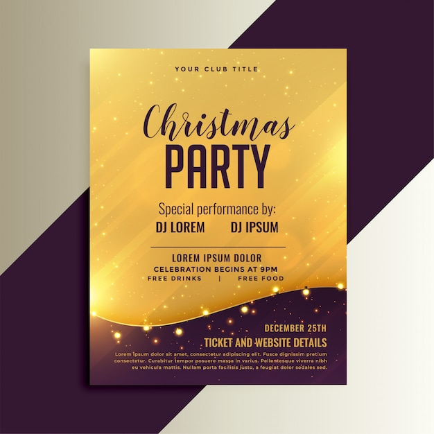 Golden christmas shiny flyer with lights decoration Free Vector