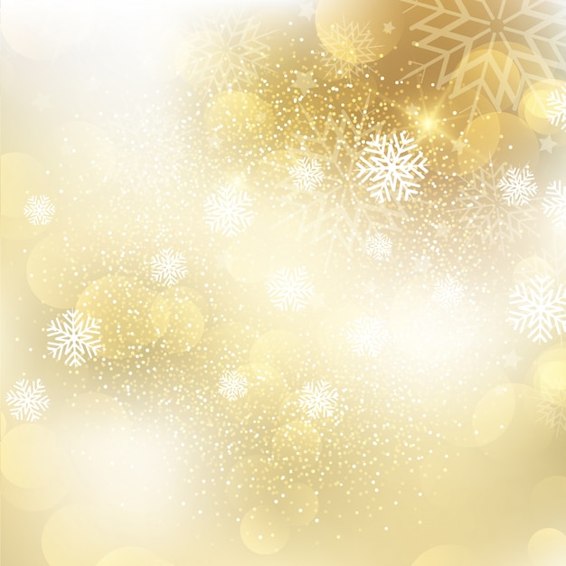 Golden Christmas snowflake background Free Vector