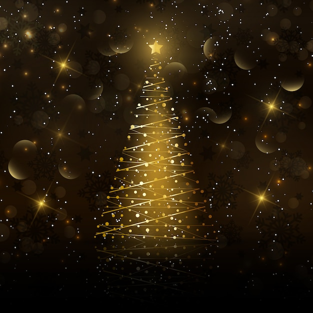 Golden christmas tree card Free Vector