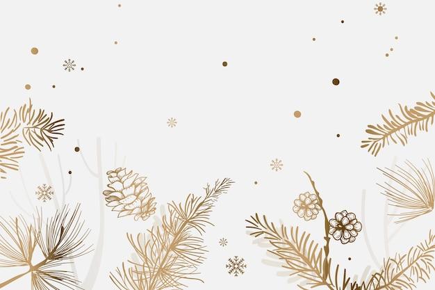 Golden christmas tree festive background Free Vector